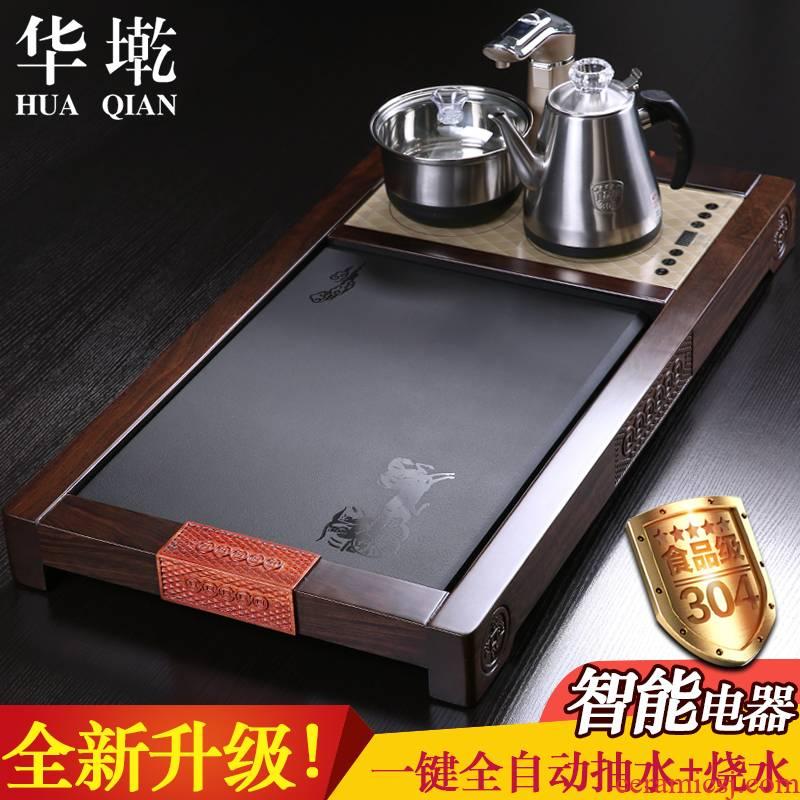 China Qian hua limu tea tray was sharply stone tea sea drainage type four unity ebony wood tea black stone tea table