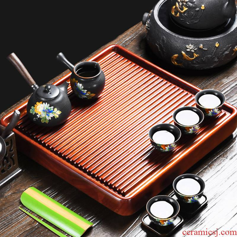 It still fang hua limu bakelite drainage type single tea sets of kung fu tea tea tray household contracted tea tea sea