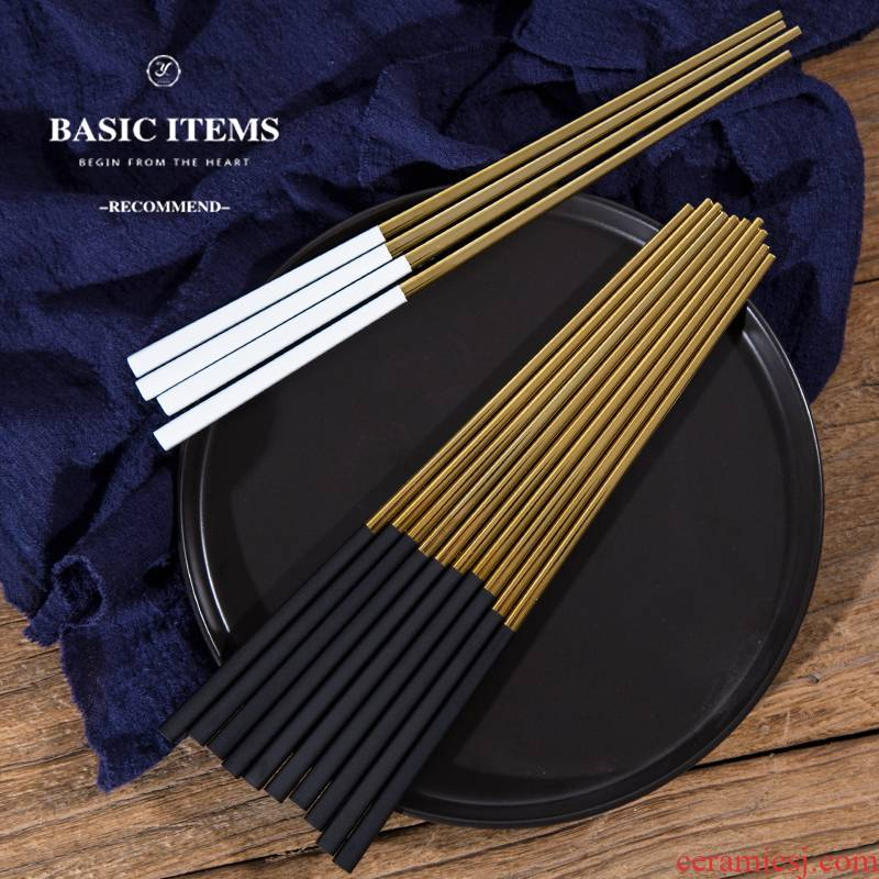 Western - style stainless steel tableware 304 chopsticks a pair of black and white handle chopsticks mouldproof sifang gold chopsticks