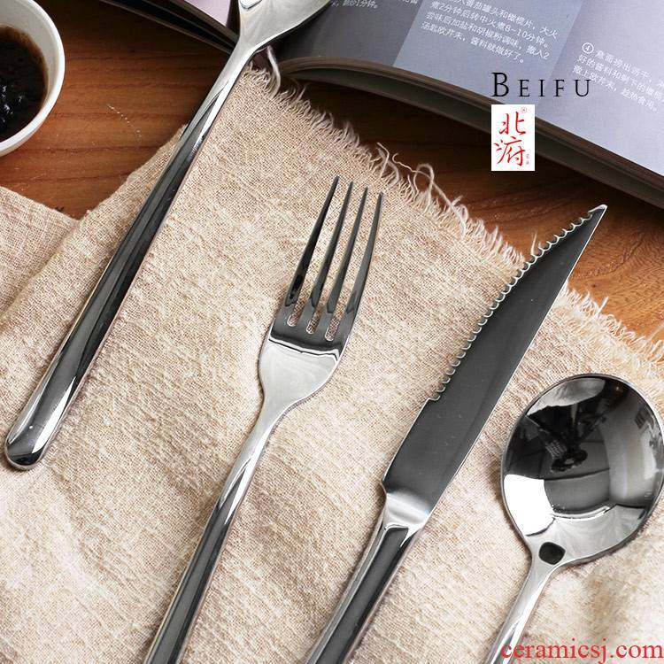 Western - style food tableware steak knife and fork suit thickening stainless steel knife and fork spoon household main fruit knife fork soup spoon