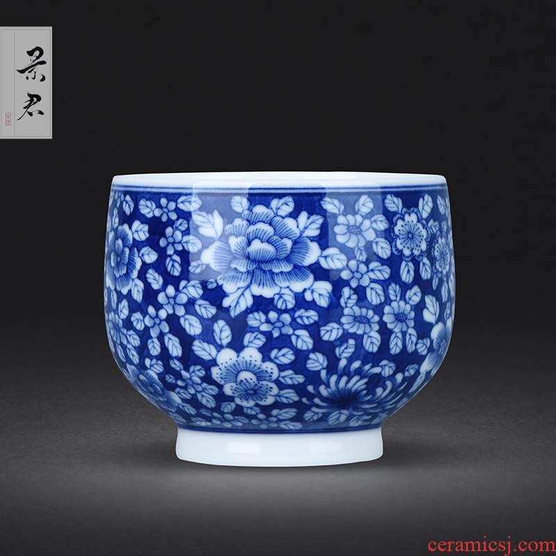 JingJun jingdezhen ceramic cups kung fu masters cup hand - made green flower porcelain sample tea cup small teacup full manual