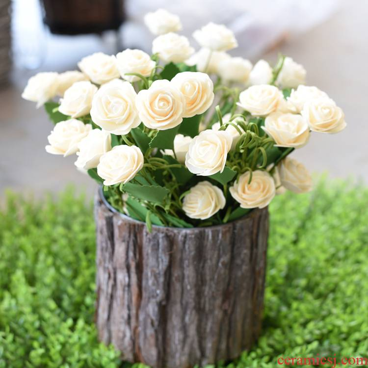 Zakka modern small pure and fresh and American countryside simulation flower rural fake flower camellia dried flowers home decoration silk flowers
