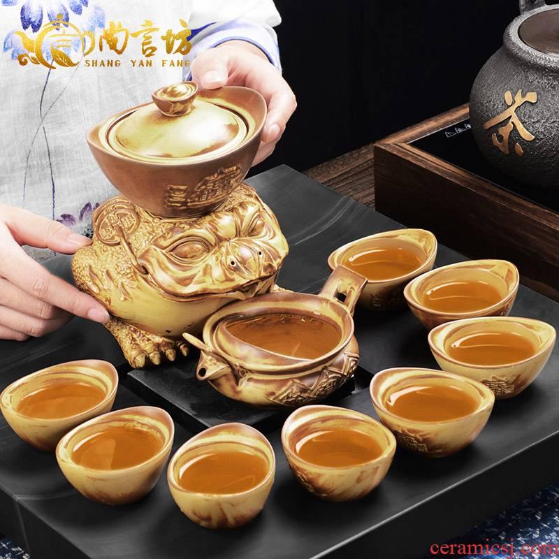 It still fang retro semi - automatic kung fu tea set individuality creative lazy people make tea, and a complete set of coarse pottery