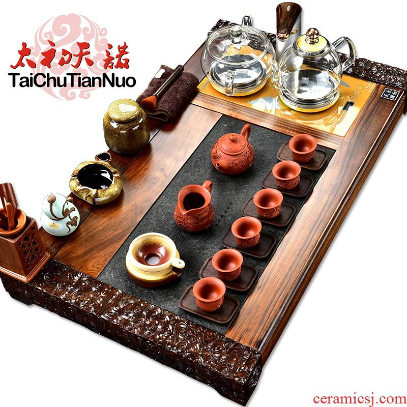 The beginning day, purple sand tea set stone sandal wood tea tray was kung fu tea table four unity automatically sheung shui tea taking