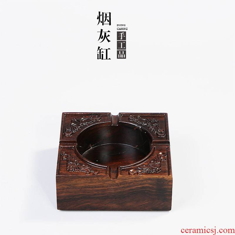 Building In hand - carved ebony ashtray solid wood tea tea accessories household items furnishing articles