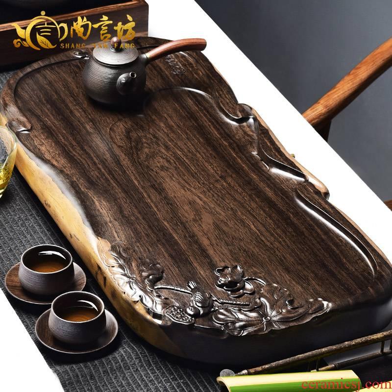 It still fang solid wood tea consolidation piece of ebony log flat tea saucer large kung fu tea tea