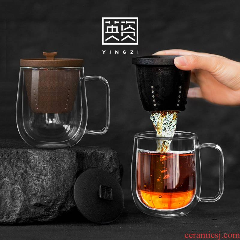 Contracted double - layer glass heat - resisting work tea cups with cover filter office flower tea keller cup men and women