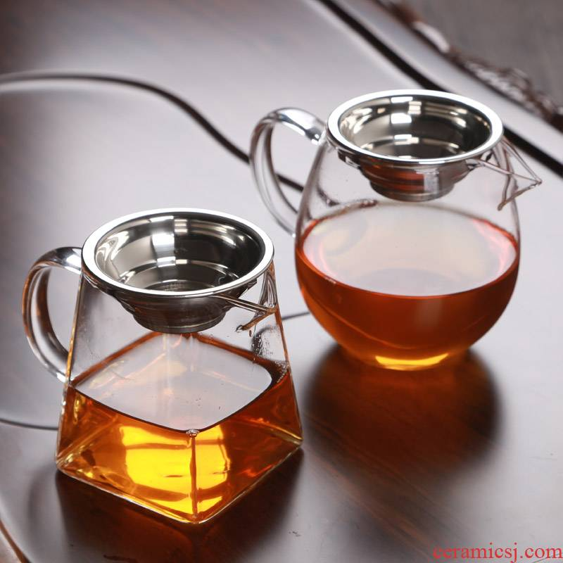 Large glass with fair keller) high temperature heat - resistant glass tea sea male insulation cup kung fu tea accessories