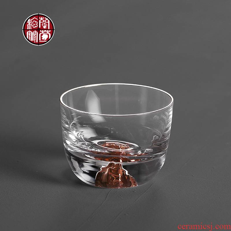 Kung fu tea set item personal cup cup upset Japanese hidden gold cup sample tea cup heat - resistant glass master single CPU