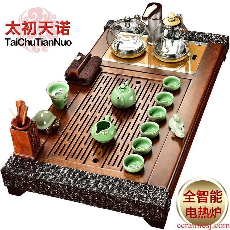 The beginning day, automatic tea sets tea tray sandalwood rosewood real wood ebony tea tea taking all of it