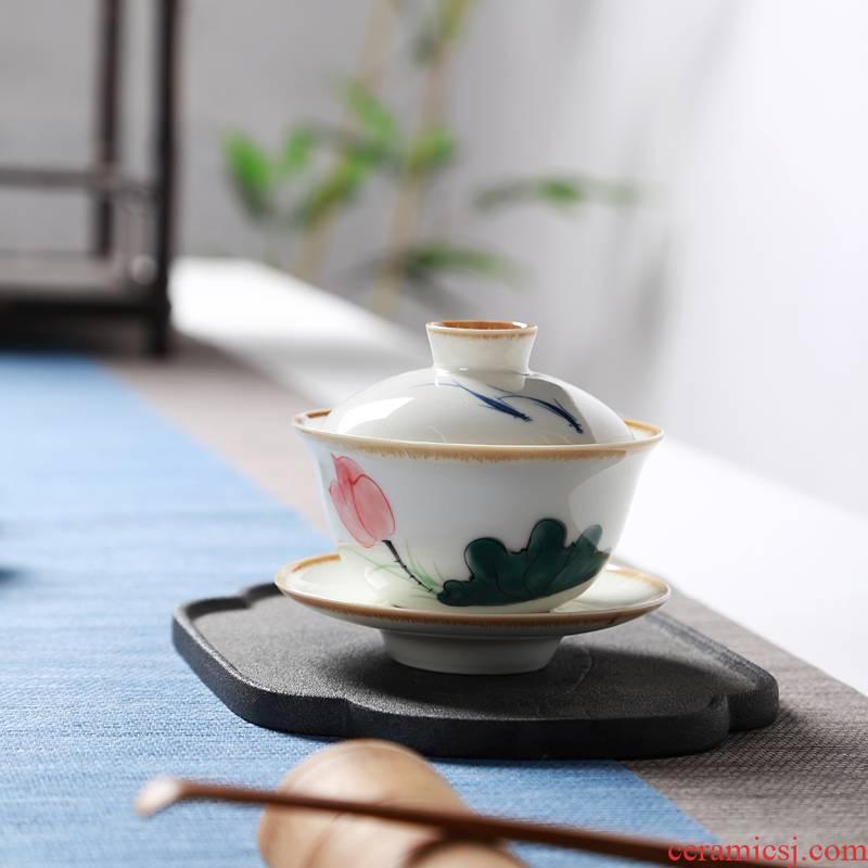 Hong bo acura hand - made Dutch wind tureen large three worship bowl tea bowl of ceramic tea for tea cups