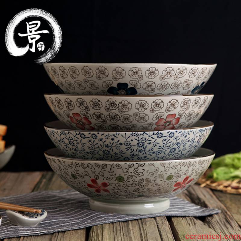 Jingdezhen ceramic bowl home soup bowl size 9 inches Japanese creative rainbow such as bowl and wind under the glaze color to use
