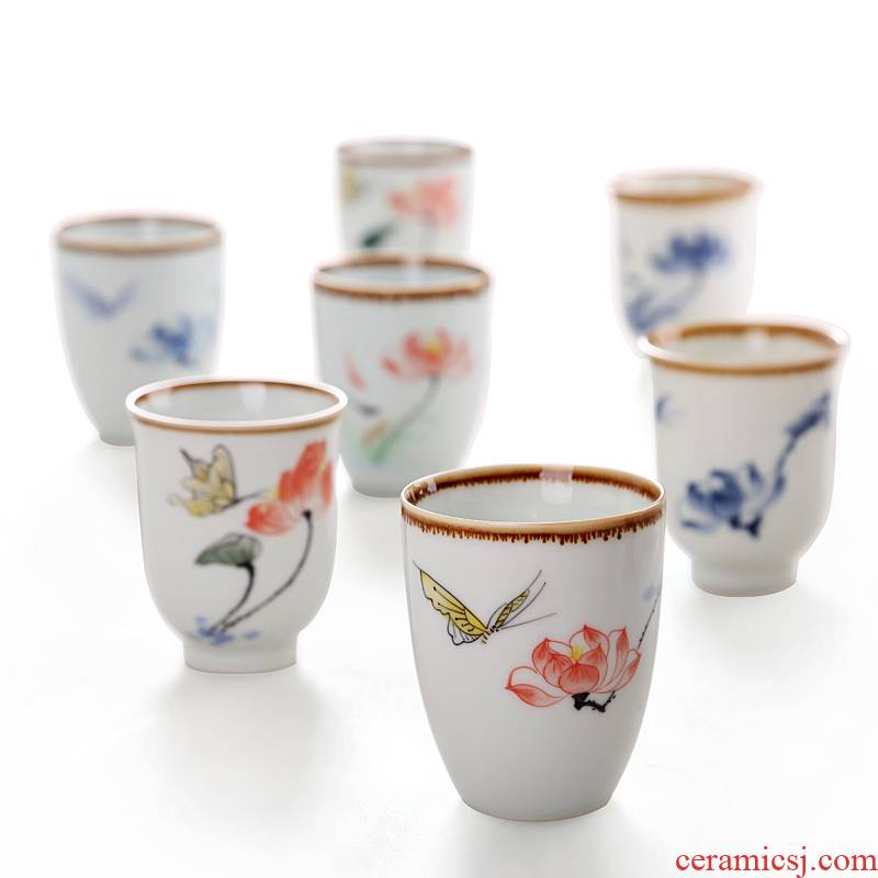 Hong bo acura hand - made lotus wind kung fu ceramic cups sample tea cup masters cup small tea masterpieces of blue and white porcelain tea set