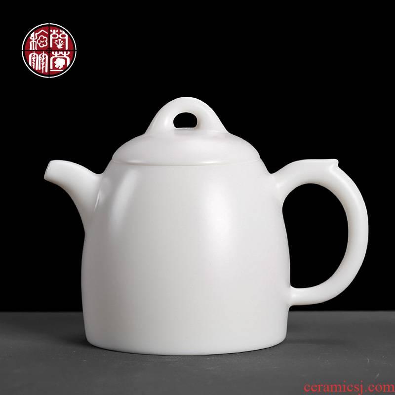 Dehua high - white Qin Quan pot DE - gen Chen checking ceramic single suet jade teapot with ivory white single pot