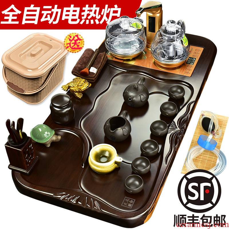 The beginning day, annatto tea kungfu tea set suit black sandal wood tea tray tea table four one automatic glass furnace