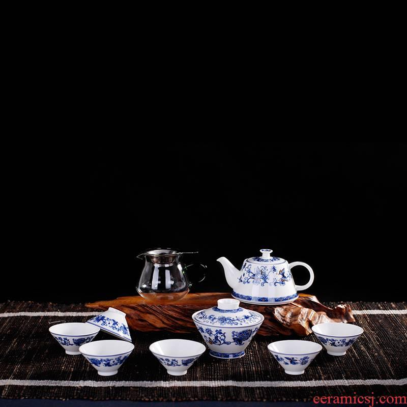 Porcelain, jingdezhen Porcelain ceramic kung fu hat to tea tea set the whole outfit tureen glass teapot tea cups