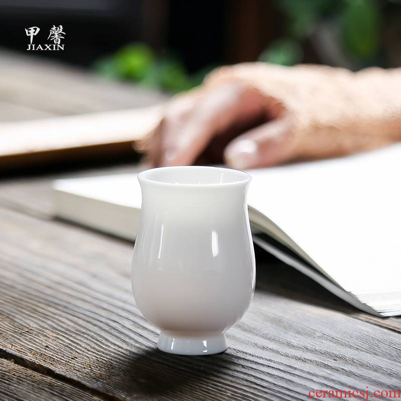 JiaXin dehua white porcelain, Keats fragrance - smelling cup ceramic kung fu tea cups individual cup of jade porcelain master CPU