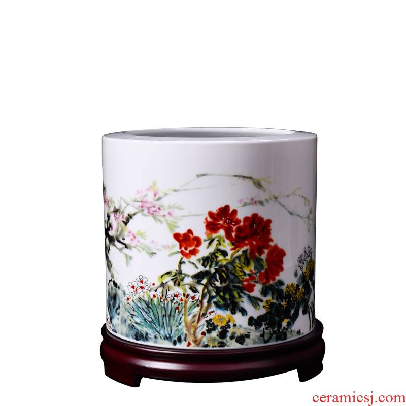 Porcelain, jingdezhen ceramic large hair brush pot qunfang bloom creative decorations desktop furnishing articles storage tank