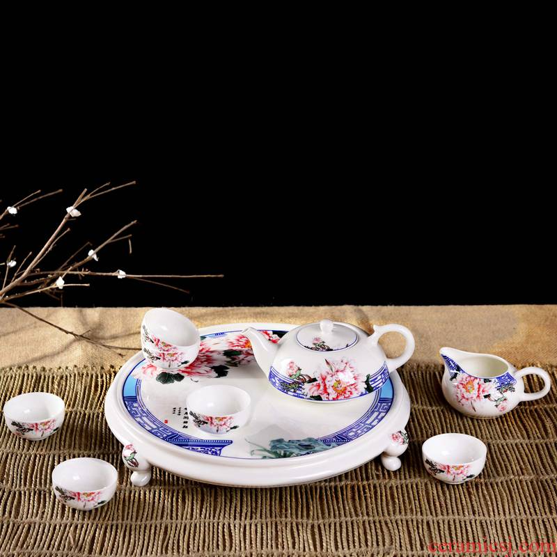 Jingdezhen porcelain, ceramic tea set 9 riches and honor peony tea kung fu tea tray was suit fashion lady move