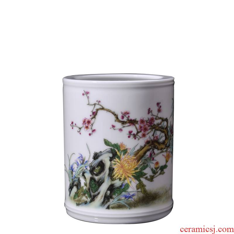 Four jun porcelain, jingdezhen ceramic small brush pot, poly real figure by patterns of office furnishing articles desktop decoration gifts