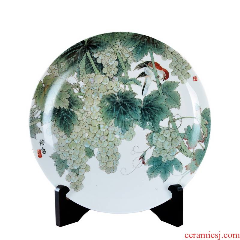 Chinese creative furnishing articles ceramics handicraft decorative plate of home sitting room office YuJiGao painting flower and - bird painting