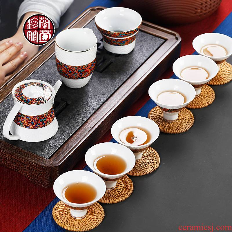 Kung fu tea set 6 only ceramic fair keller cups lid to use home sitting room imitation Chinese lacquer tea set