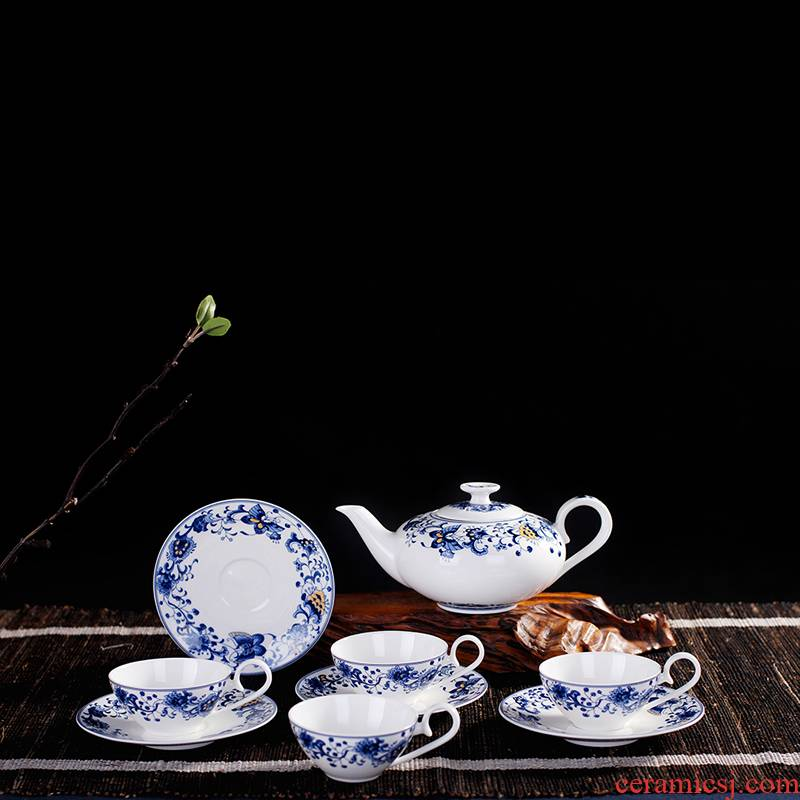 Porcelain, jingdezhen ceramic creative tea set and blue and white fashion suits for about nine riches and honor peony lady bag mail the teapot