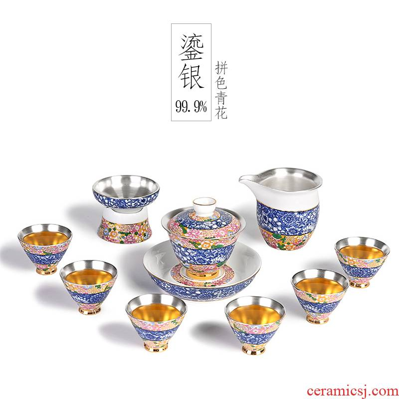 999 sterling silver of a complete set of kung fu tea set manually tasted silver gilding household ceramic tea sets lid bowl of tea gift box