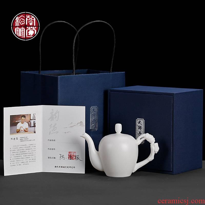 De - gen Chen, a high - white narrow beauty pot'm white porcelain ceramic teapot from pure manual element suet jade single pot