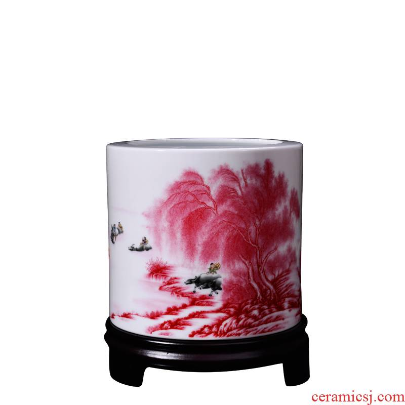 Porcelain, jingdezhen ceramics creative landscape jiangnan large hair brush pot desktop furnishing articles household good arts and crafts