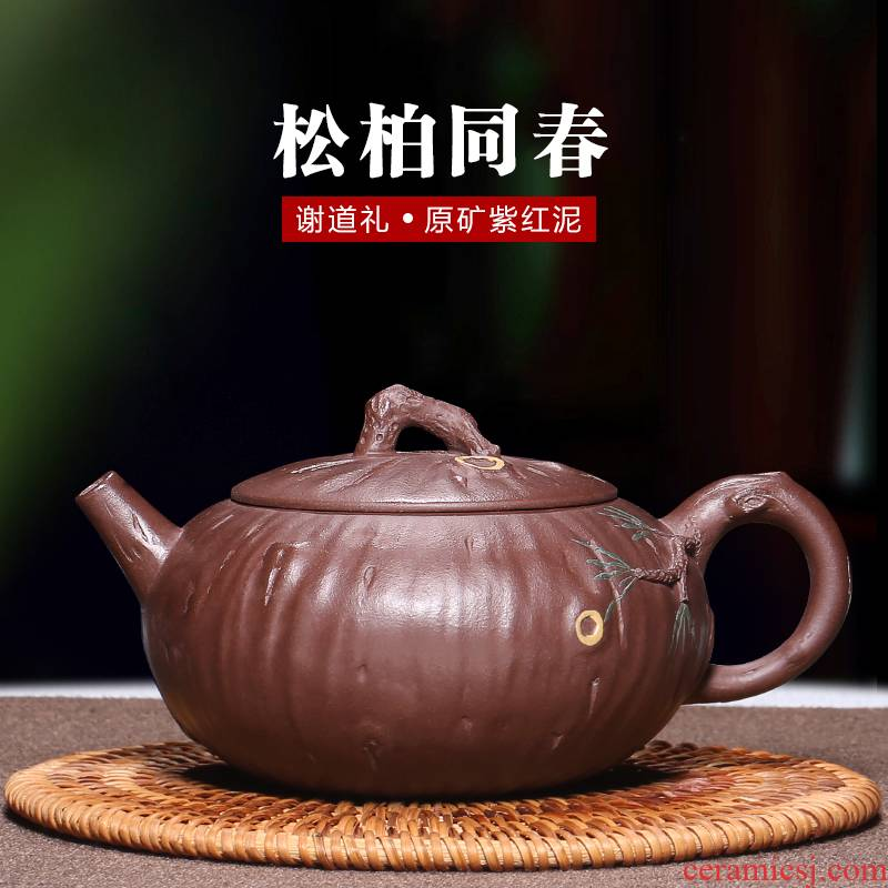 Mingyuan tea pot of yixing masters are it pure manual undressed ore purple clay household authentic kung fu tea tea set