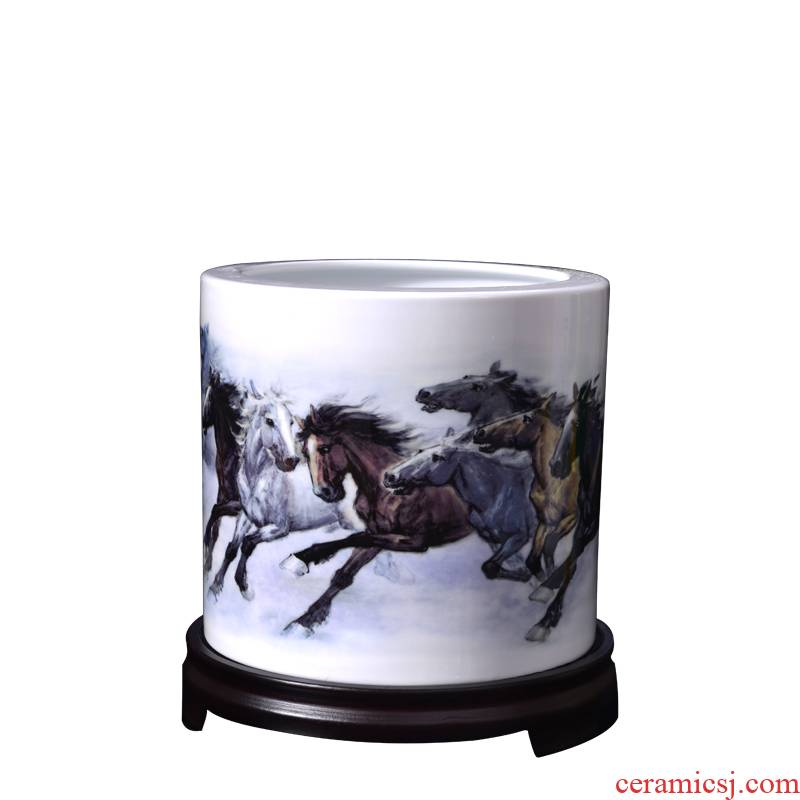 Jingdezhen ceramic large brush pot eight jun figure horse galloping crafts office desktop furnishing articles Chinese gifts