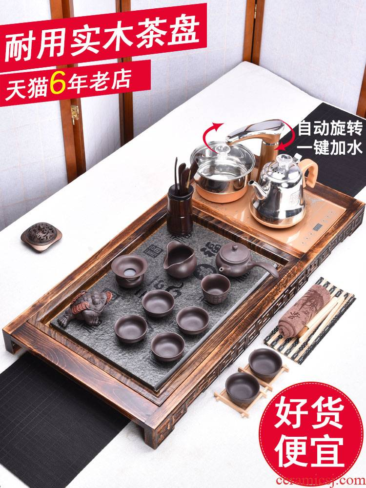 HaoFeng ceramic tea set of household solid wood sharply stone tea tray tea tray induction cooker purple sand teapot teacup