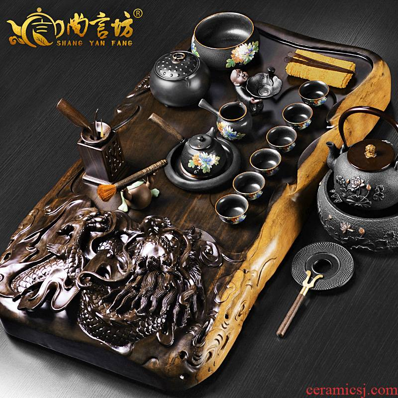 It still fang tea tray sets electromagnetism one household ebony wood kung fu tea tea hai up simple restoring ancient ways