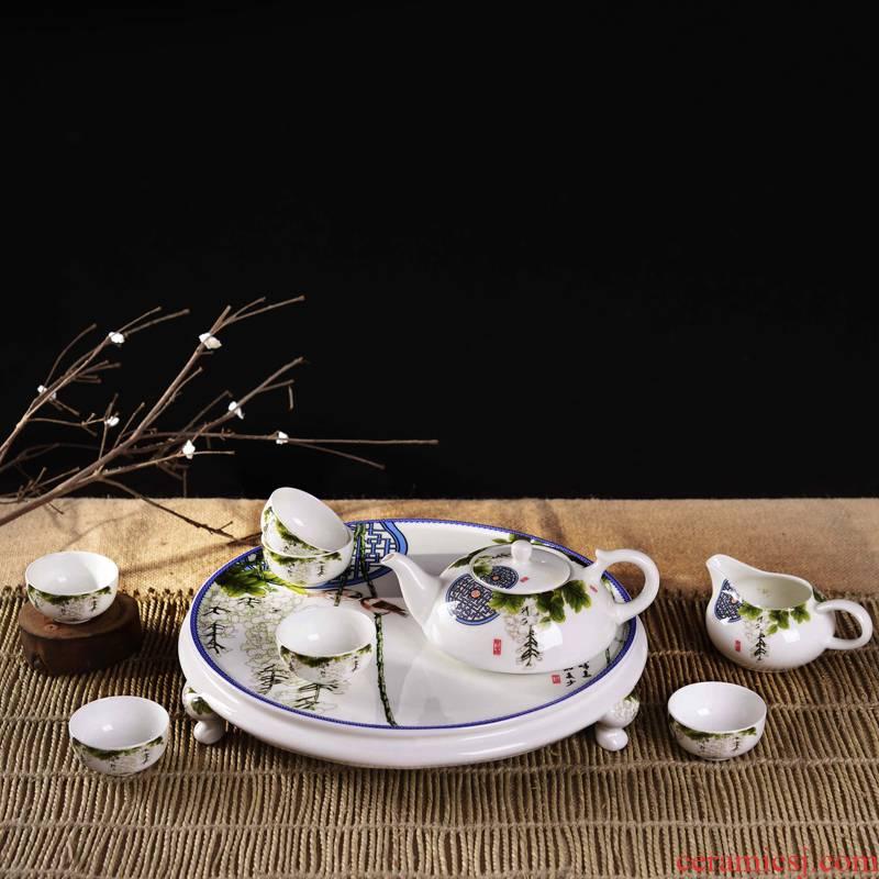 Jingdezhen porcelain, ceramic and Chinese kung fu tea set nine poems chunxiao tea tray teapot