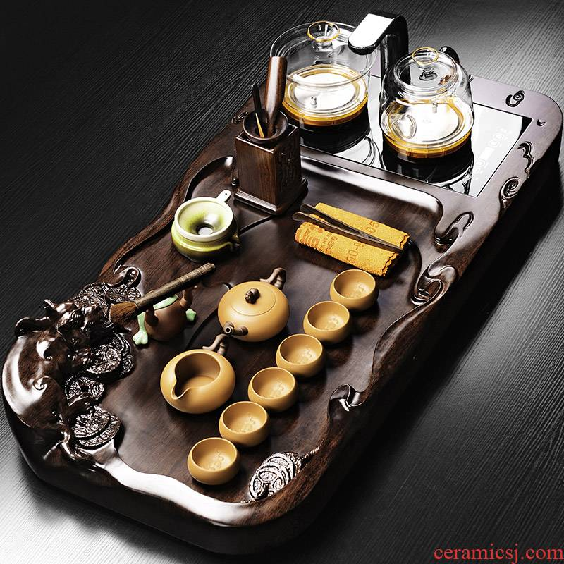 It still fang tea tray was suit induction cooker household contracted and I integrated four unity of violet arenaceous kung fu tea set