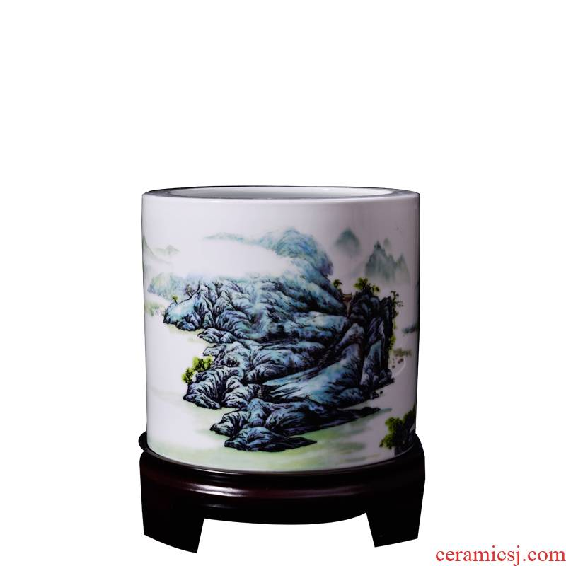 Porcelain, jingdezhen Porcelain brush pot Wang Guiying xanadu painting landscape place four treasures of the study Chinese calligraphy art supplies