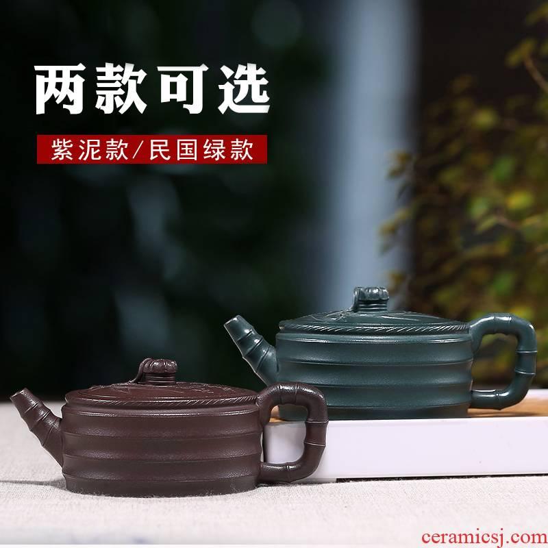 Mingyuan tea pot of yixing are it by pure manual flat bamboo satin household teapot kung fu tea tea set