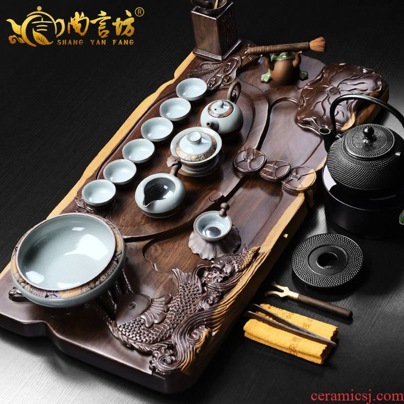 It still fang the whole piece of ebony purple sand tea tray was imitation elder brother up kung fu tea sets the whole household contracted and I