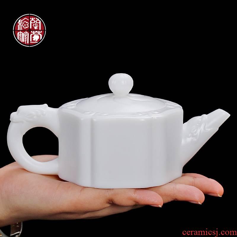 De - gen Chen dehua white porcelain teapot kunfu tea suet jade porcelain tea set a single ceramic tea white jade ruyi pot
