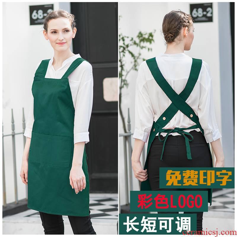 Green apron custom logo han edition style restaurant flower shop apron milk tea cafe nail overalls