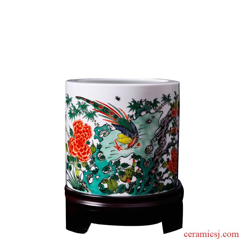 Porcelain, jingdezhen ceramic wool brush pot office supplies LanGuoHua icing on the cake bird large double ninth festival gift