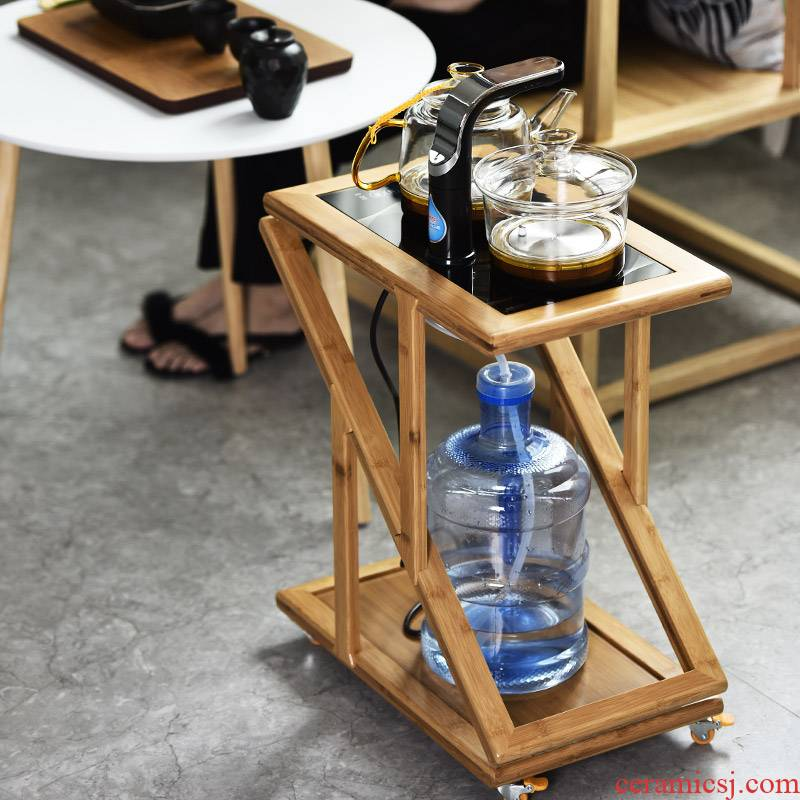 It still fang bamboo tea car mobile tank multi - function with induction cooker real wood kung fu tea tea tea tray