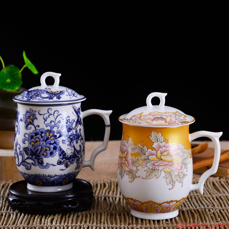 Jingdezhen ceramic cups with cover lovers suit ruixiang blue and white ipads China cups water innovation office cup double