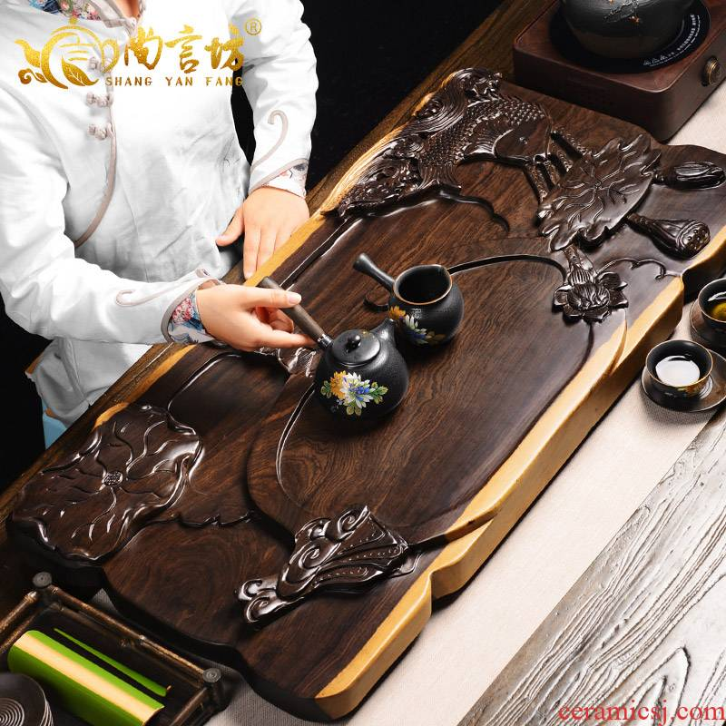 It still fang the whole piece of ebony tea tray hand - carved solid wood tea sea kung fu tea set large drainage type household