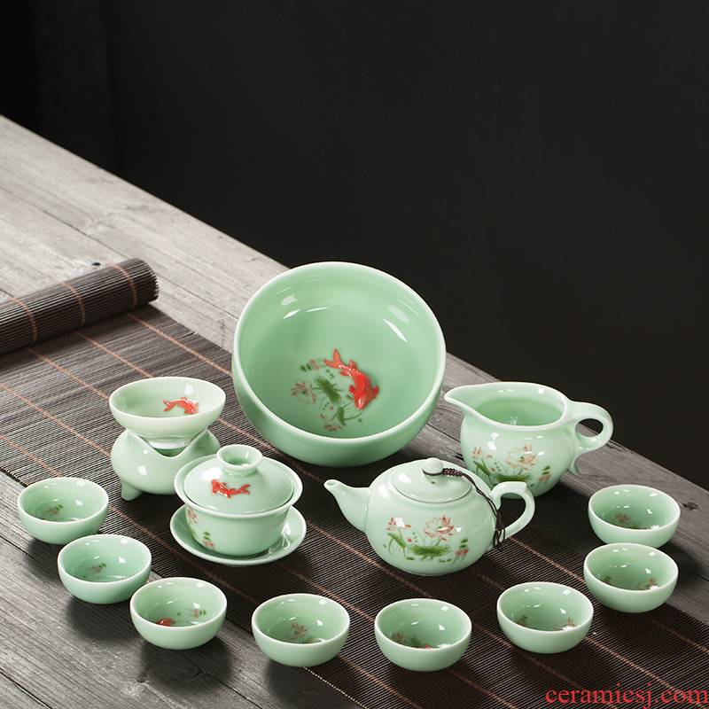 Celadon kung fu tea set tea tray household contracted noggin carp to use ceramic teapot automatically