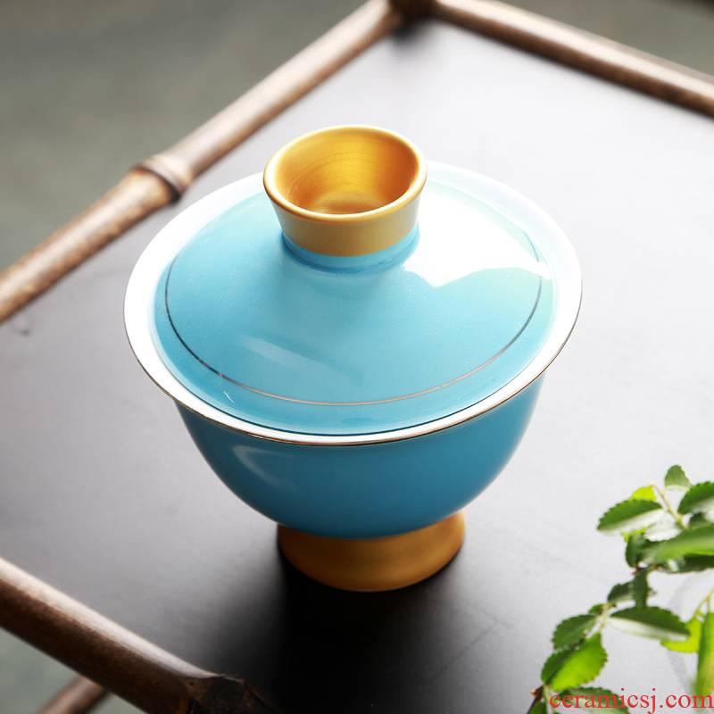 Hong bo love gourmet rainbow tureen beauty shoulder CiHu teapot three bowls of kung fu tea set