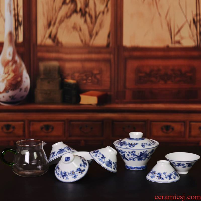Porcelain, jingdezhen Porcelain ceramic is suing tourism kung fu tea sets portable recent hat to tea cups