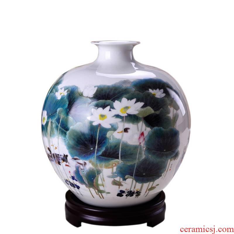 Jingdezhen ceramic vases, Chinese modern arts and crafts porcelain lotus furnishing articles YuJiGao fragrant lotus duck fat sitting room adornment