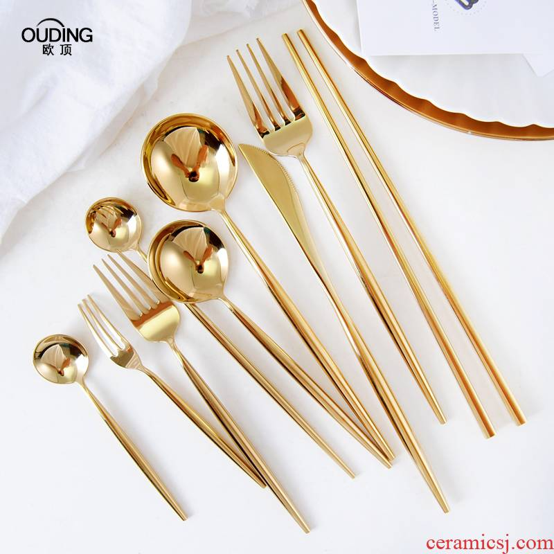 Podcast 304 mirror gold western knife and fork spoon steak knife and fork cutlery dessert fork spoon, coffee spoon, chopsticks